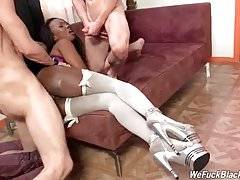 Muscled white fellows ruthlessly drill awesome black slutie.
