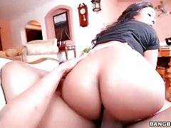 Lovely ebony babe with large booty enjoys cock riding.